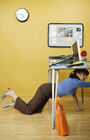 Businesswoman on hands and knees Stock Photo - 16070638