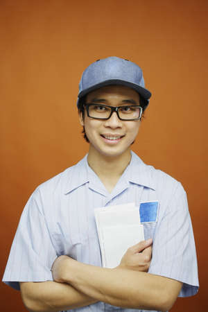 Postman holding mail