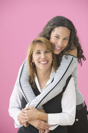 contentedness: Portrait of teenage girl with her mother