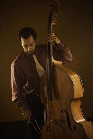 bass: Man playing double bass