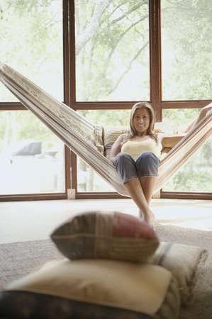 Portrait of woman on hammock Stock Photo - 16071328