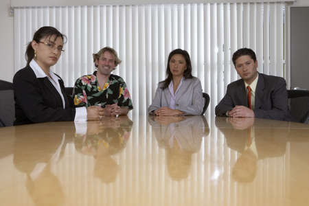 dressed for success: Business professionals with surfer dude