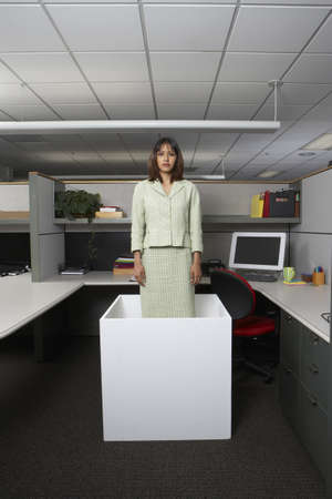 close quarters: Businesswoman standing in office cubicle LANG_EVOIMAGES