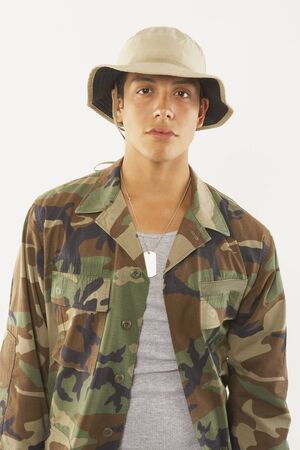 Portrait of young male soldier in fatigues Stock Photo - 16071390