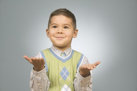 not give: Boy gesturing with his hands