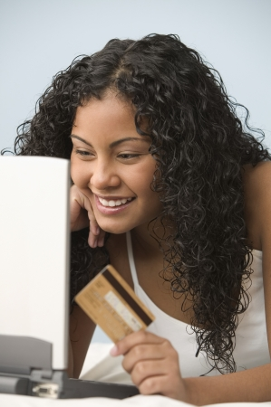 Teen girl  shopping online with credit card Stock Photo - 16071474
