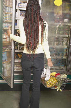 Rear view of a teenage girl holding a freezer door Stock Photo - 16071549