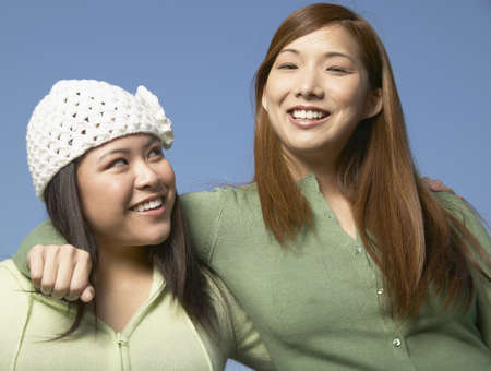 some under 18: Portrait of two young women smiling