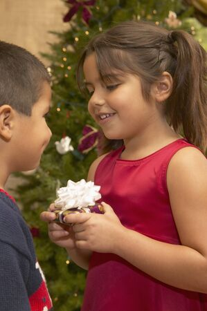 children's wear: Brother sharing a flower with his sister LANG_EVOIMAGES