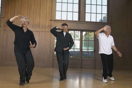 asian art: Two senior men and a senior woman doing tai chi LANG_EVOIMAGES