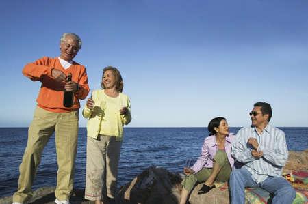 Extended family celebrate on rocky shore Stock Photo - 16071715