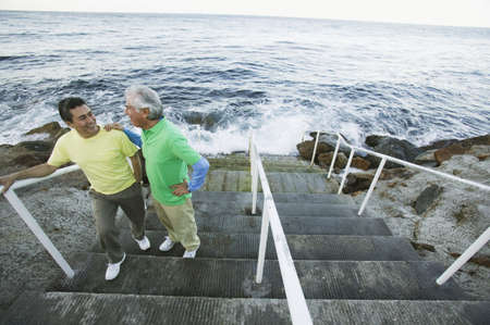 mixed age range: Father and son chatting on seaside steps