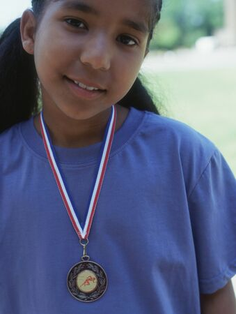 all under 18: Portrait of girl with metal around neck