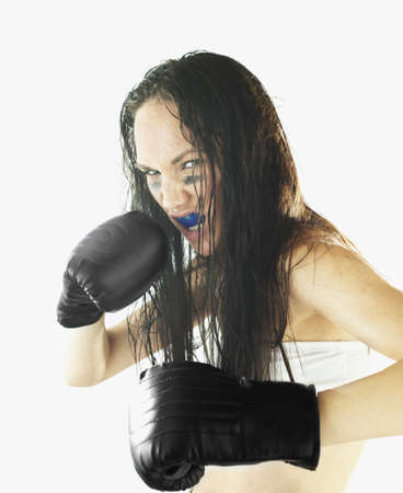 Female boxer ready to fight Stock Photo - 16043314