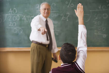 front raise: Teacher calling on student to answer a question