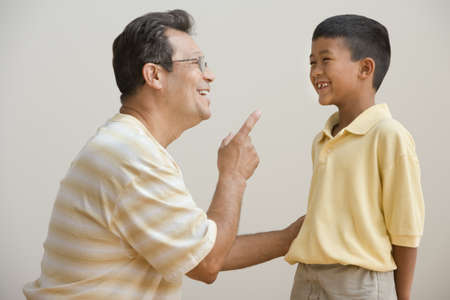 lecturing: Father lecturing son