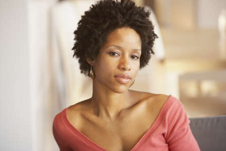 thinking woman: Portrait of African american woman