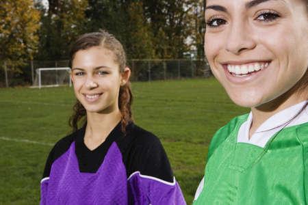 Portrait of girls on soccer field Stock Photo - 16073690