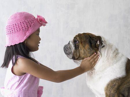 cherishing: Portrait of girl with bulldog