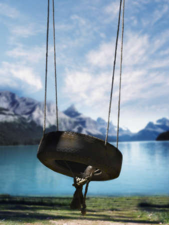 unconcerned: Empty tire swing