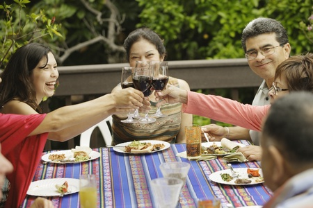 People toasting each other at the dinner table