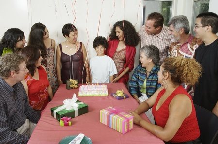 Family at young boyÃŒs birthday party Stock Photo - 16074371