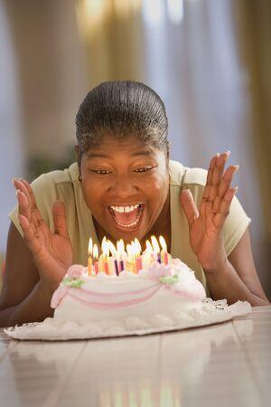 Woman celebrating her birthday Stock Photo - 16089453