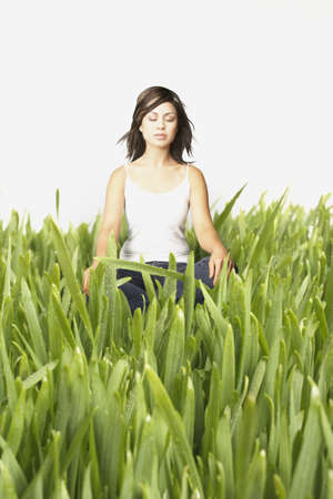 Young woman meditating in tall grass Stock Photo - 16090013