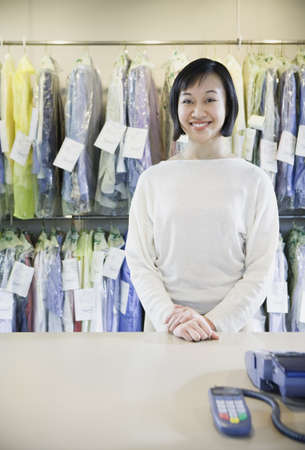 Happy Asian drycleaner, Edmonds, Washington, United States Stock Photo - 16090273