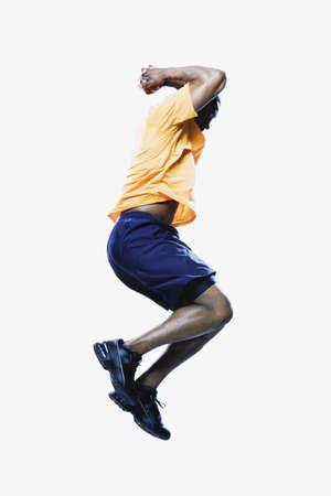 hopping: African man jumping, Edmonds, Washington, United States
