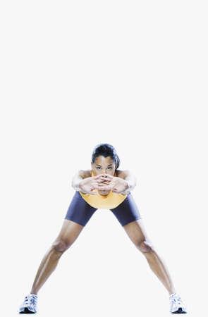 Woman stretching, Edmonds, Washington, United States Stock Photo - 16090281