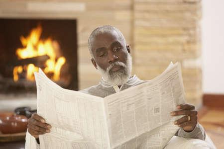 Senior African man reading a newspaper, Richmond, Virginia, United States Stock Photo - 16090289