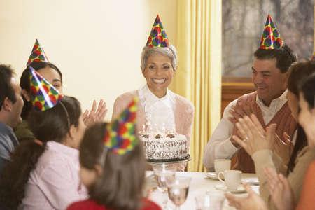 Family birthday party for Hispanic grandmother, Richmond, Virginia, United States Stock Photo - 16090292