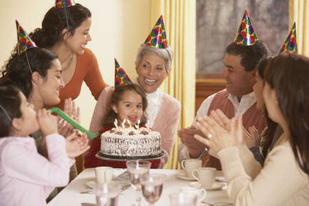 party hat: Family birthday party for Hispanic girl, Richmond, Virginia, United States