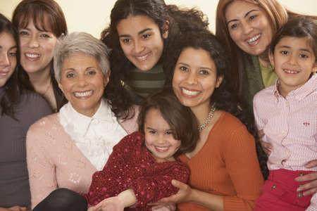three generations of women: Female Hispanic family members smiling, Richmond, Virginia, United States