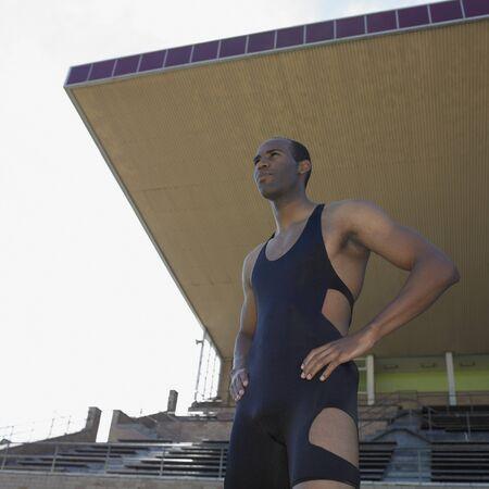 African male athlete at stadium, Perth, Australia Banque d'images