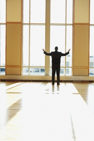 motioning: Businessman standing in sunlit room with arms outstretched, North Bethesda, Maryland, United States LANG_EVOIMAGES