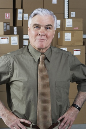 cardboard only: Businessman standing in warehouse