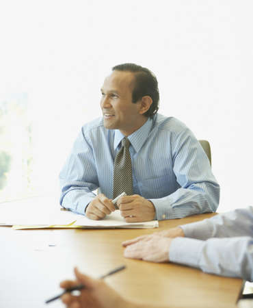 adult  body writing: Asian businessman at meeting