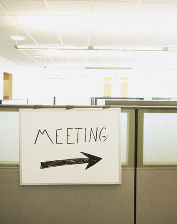 Dry erase board with Meeting written on it and an arrow, Redwood City, California, United States