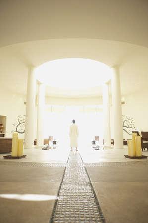 longshot: Man in robe at health spa, Los Cabos, Mexico
