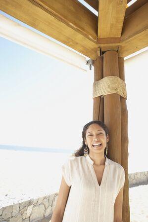 Hispanic woman outdoors at beach resort, Los Cabos, Mexico Stock Photo - 16090811
