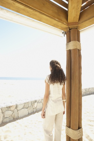 well beings: Hispanic woman outdoors at beach resort, Los Cabos, Mexico