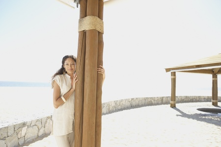 Hispanic woman outdoors at beach resort, Los Cabos, Mexico Stock Photo - 16090813
