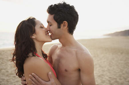 Couple kissing on the beach, Los Cabos, Mexico Stock Photo - 16090828