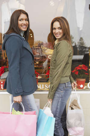 Two young women shopping, Larkspur, California, United States Stock Photo - 16090829