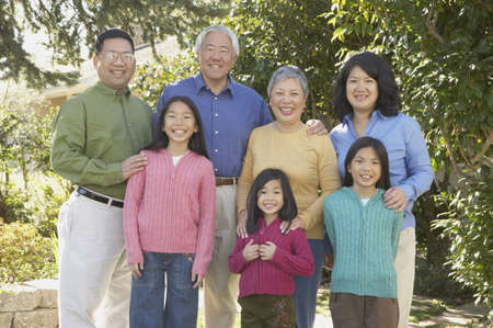 Three generations of an Asian family, San Rafael, California, United States Stock Photo - 16090874