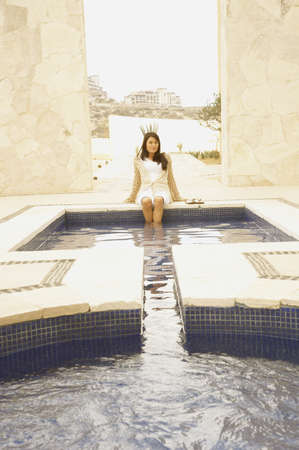 Woman with feet in outdoor hot tub, Los Cabos, Mexico Stock Photo - 16090965