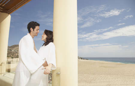 Couple hugging outdoors at a beach resort, Los Cabos, Mexico Stock Photo - 16090987