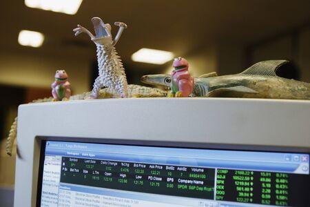 Toys adorning computer screen Stock Photo - 16091105